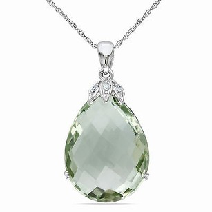 Amour Amour 10k White Gold Green Amethyst And Diamond Pendant Necklace 17