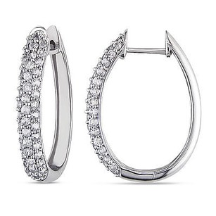 Amour Amour 10k White Gold White Sapphire Hoop Earrings