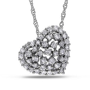 Amour Amour 14k White Gold 12 Ct Tdw Diamond Heart Pendant Necklace G-h Si1-si2 17