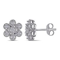 Amour Amour 14k White Gold 14 Ct Tdw Diamond Flower Stud Earrings G-h I1-i2