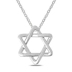 Amour Amour 14k White Gold Jewish Star Of David Pendant Necklace 17