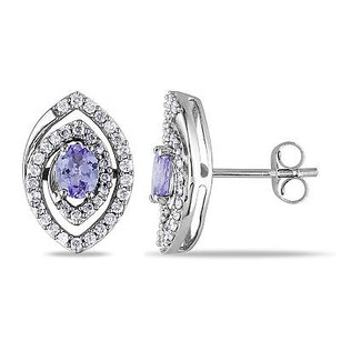 Amour Amour 14k White Gold Tanzanite Or Pink Sapphire Diamond Stud Earrings G-h I1