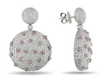 Amour Amour 18k White Gold 35 Ct Tdw Pink And White Diamond Earrings G-h Si1-2