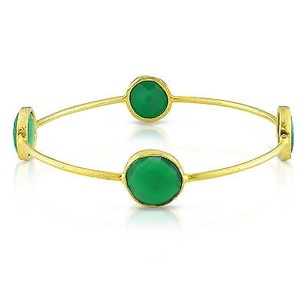 Amour Amour 22k Yellow Goldplated Ct Tgw Gemstone Green Onyx Bangle Bracelet 8