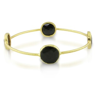 Amour Amour 22k Yellow Goldplated Ct Tgw Synthetic Onyx Bangle Bracelet 8