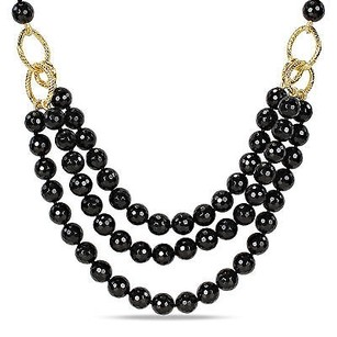 Amour Amour 600 Ct Tgw Faceted Black Agate 3-strand Necklace 18