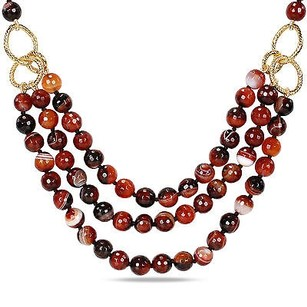 Amour Amour 600 Ct Tgw Faceted Brown Agate Bead 3-strand Necklace 40-inch 18