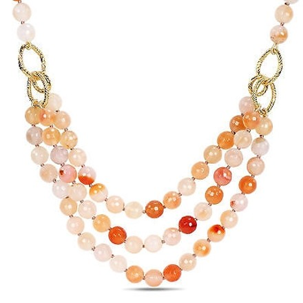 Amour Amour 600 Ct Tgw Faceted Peach Agate Three-strand Necklace 19 1 Extender
