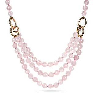 Amour Amour 600 Ct Tgw Faceted Rose Quartz Three-strand Necklace 18