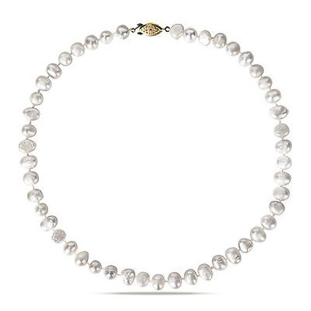 Amour Amour Goldtone White Cultured Freshwater Pearl Necklace 8-9 Mm 18