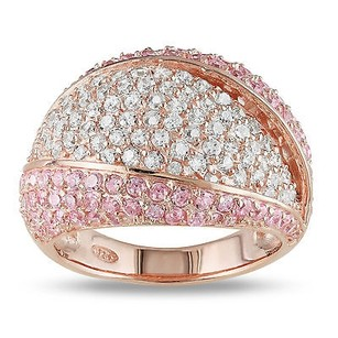 Amour Amour Rose Pink Silver White And Pink Cubic Zirconia Cocktail Ring