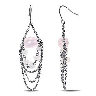 Amour Amour Silvertone Ct Tgw Rose Quartz Dangle Hook Nickle Earrings