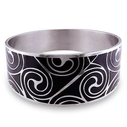 Amour Amour Stainless Steel Colored Black Epoxy Bangle Bracelet 8