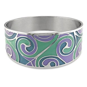 Amour Amour Stainless Steel Colored Epoxy Purple Aqua Blue Bangle Bracelet 8