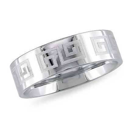 Amour Amour Stainless Steel Engraved Craft Band Ring