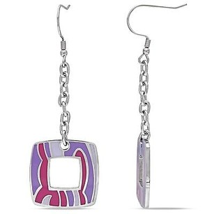 Amour Amour Stainless Steel Square Colored Epoxy Dangle Drop Earrings
