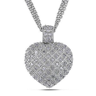 Amour Amour Sterling Silver 1 Carat Diamond Heart Love Strand Necklace Pendant 925 17