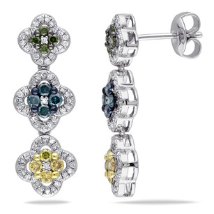Amour Amour Sterling Silver 1 Ct Tdw Multi-color Diamond Dangle Earrings