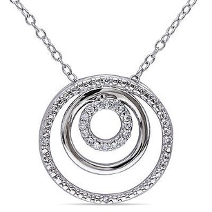 Amour Amour Sterling Silver 110 Ct Tdw Diamond Circle Pendant Necklace H-i I2-i3 18