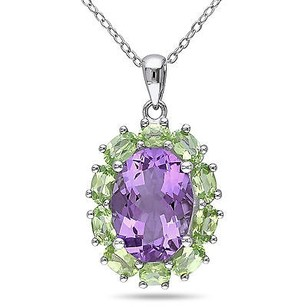 Amour Amour Sterling Silver 13 Ct Tgw Amethyst And Peridot Pendant Necklace 18