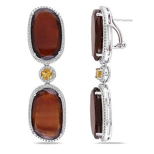Amour Amour Sterling Silver 68 34 Ct Tgw Garnet And Citrine Dangle Earrings