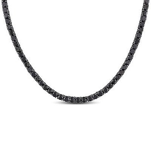 Amour Amour Sterling Silver Black Cubic Zirconia Necklace 17