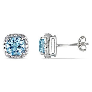 Amour Amour Sterling Silver Blue Topaz Birthstone Stud Earrings