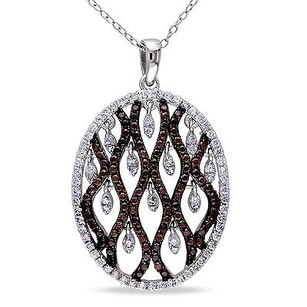 Amour Amour Sterling Silver Brown And White Cubic Zirconia Pendant Necklace 18