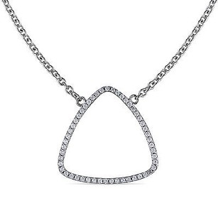 Amour Amour Sterling Silver Cubic Zirconia Necklace 18 Chain Lobster Claw Clasp