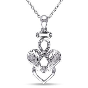 Amour Amour Sterling Silver Diamond Accent Infinity Angel Pendant Necklace 18
