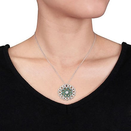 Amour Amour Sterling Silver Green And White Cubic Zirconia Flower Pendant Necklace 18