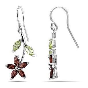 Amour Amour Sterling Silver Multi-gemstone Flower Earrings