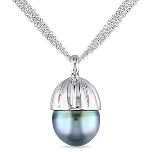 Amour Amour Sterling Silver Tahitian Pearl Pendant Necklace 12-13 Mm 18