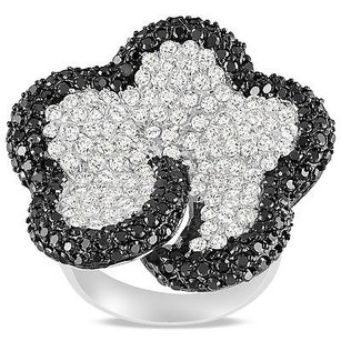 Amour Amour Sterling Silver White And Black Cubic Zirconia Cocktail Ring 78 Ct Tdw