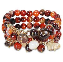 Amour Brass 300ct Multi-gemstone Color Brown Bead 3-row Stretch Bracelet