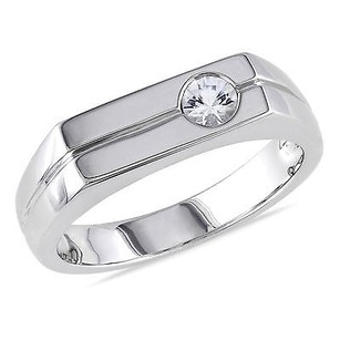 Amour Sterling Silver Mens 13 Ct Tgw White Sapphire Cocktail Ring