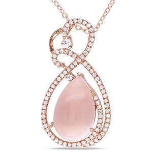 Amour Pink Sterling Silver Rose Quartz Cubic Zirconia Pendant Necklace 18