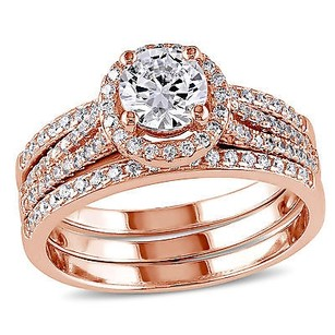 Amour Rose Gold Over Silver Cz Engagement Bridal Promise Solitaire Vintage Ring Set