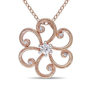 Amour Rose Pink Sterling Silver 16 Ct Tdw Diamond Flower Pendant Necklace 18