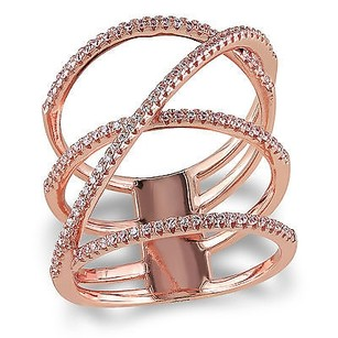 Amour Rose Pink Sterling Silver Cubic Zirconia Crossover Ring