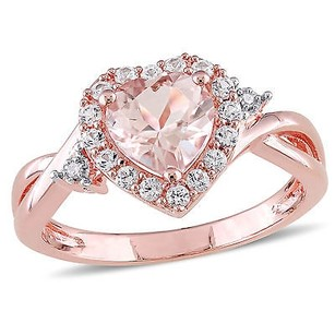 Amour Rose Pink Sterling Silver Morganite White Sapphire Diamond Heart Infinity Ring