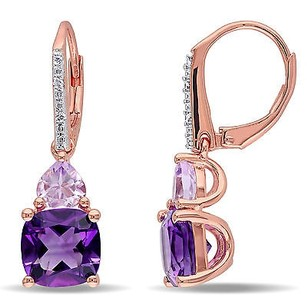 Amour Rose Pink Sterling Silver Multi-gemstone And Diamond Dangle Leverback Earrings