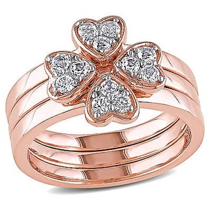 Amour Rose Pink Sterling Silver White Topaz Bridal Ring Set