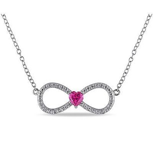 Amour Silver 14 Ct Ruby Infinity Love Swivel Crossover Heart Pendant Necklace