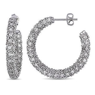 Amour Silver 7.20 Ct Tgw Cz Hoop Earrings W Post And Butterfly Backs