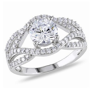 Amour Silver 7mm 2mm Round White Cubic Zirconia Engagement Fashion Ring