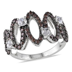 Amour Silver Brown White Cubic Zirconia Ring W Black Rhodium Plating
