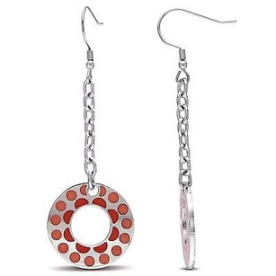 Amour Stainless Steel Earrings 23mm Round Shape W Pink Epoxy Circle Dangle Earrings