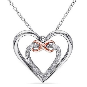 Amour Sterling Silver 110 Ct Tw Diamond Double Heart Infinity Pendant Necklace I3 18