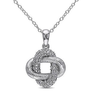 Amour Sterling Silver 16 Ct Tdw Diamond Pendant Necklace H-i I2-i3 18